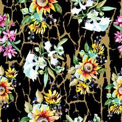 Bouquet watercolor background illustration set. Watercolour seamless background pattern. Fabric wallpaper print texture.