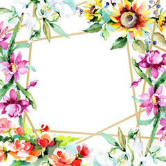 Bouquet watercolor background illustration set. Watercolour isolated. Floral flower. Frame border ornament square.