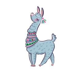 Llama cartoon alpaca. Llama animal vector isolated illustration. Design for card, sticker, fabric textile, t-shirt. Children, child of modern trendy style