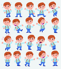 Cartoon character businessman in casual style. Set with different postures, attitudes and poses, doing different activities in isolated vector illustrations.