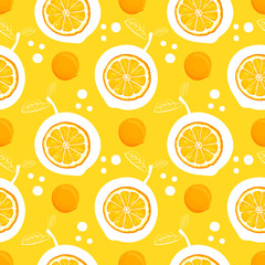 Orange seamless pattern. Sketch oranges. Citrus fruit background. Elements for menu, greeting cards, wrapping paper, cosmetics packaging, posters etc