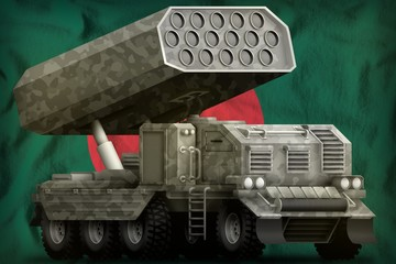 rocket artillery, missile launcher with grey camouflage on the Bangladesh national flag background. 3d Illustration