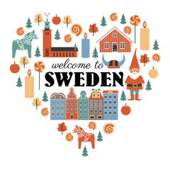 Swedish vector traditional symbols in heart shape, lamdmark City Hall of Stockholm, Gamla Stan, Tomtar elf, Dalarna horse, red house, cinnamon roll isolated on white, decorative frame flat style