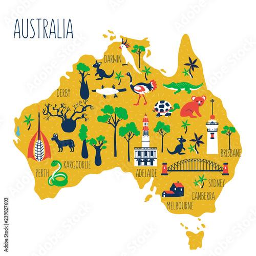 Australia cartoon travel map vector illustration, landmark