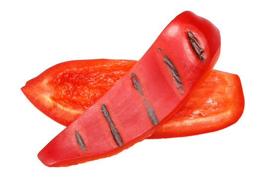Grilled red bell pepper slices, paths, top
