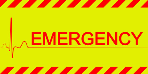 Warning banner sticker emergency, red and yellow diagonal stripes, vector sign symbol heartbeat text emergency