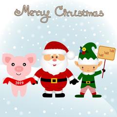 Christmas card. Funny postcard with Christmas Elf, Christmas pig