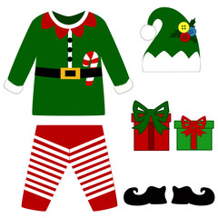 Romper suit. Christmas costume for children. Christmas elf costu