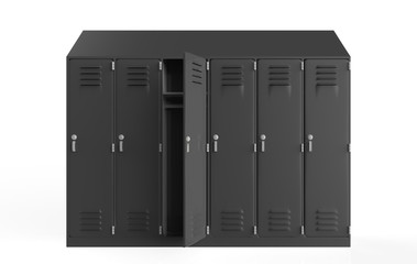 metal cabinets. Lockers in school or gym with silver handles and locks. Safe box with doors, cupboard, compartment. 3d illustration