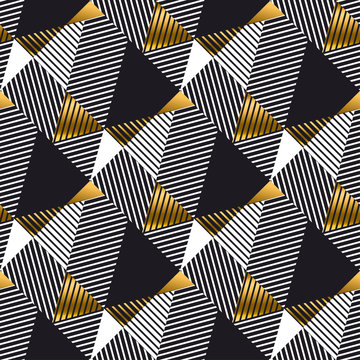 Abstract gold and black geometric seamless pattern