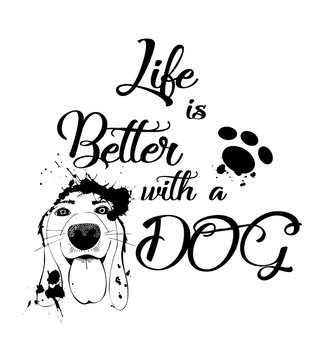 Vector hand drawn motivational and inspirational quote - Life is better with a dog.