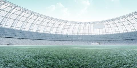 Soccer stadium,turquoise and hi-key toning photorealistic 3d illustration, 3d render
