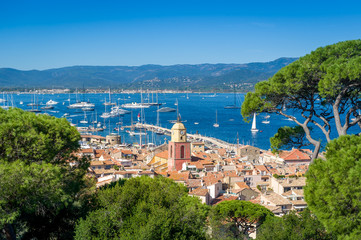 Saint-Tropez old town and yacht marina view from fortress on the hill.