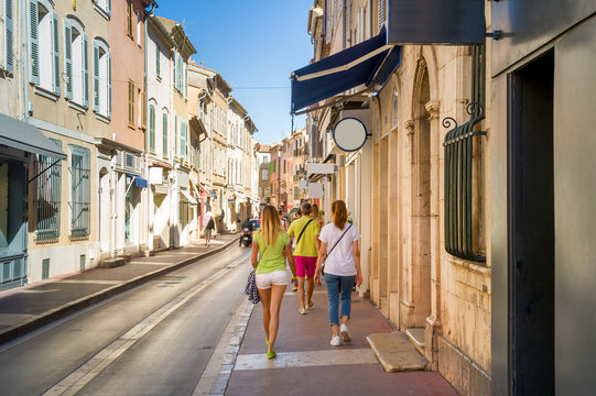 Tourists walking on the streets of Saint-Tropez old town