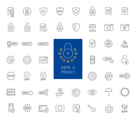 50 GDPR and privacy thin line icons