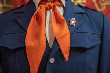 red tie on a school uniform dark blue in the USSR