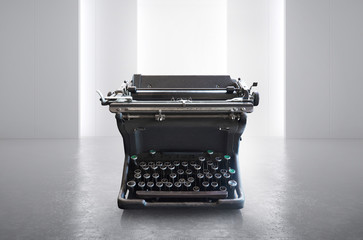Old vintage retro  black Typewriter on white empty space