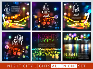 Abstract city background with bokeh lights set. Vector illustration