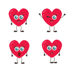 Happy Valentine's Day. Set of Love Emoji isolated on white. Heart funny collection for Valentines Day. Symbols for t-shirt print, icon, logo, label, patch, sticker.