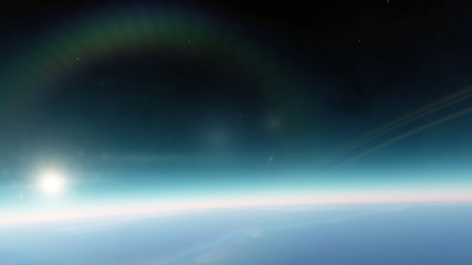 Planet in the space. Colorful art. Solar system. Gradient color. Space wallpaper. Elements of this image furnished by NASA