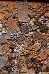Assorted chocolate background