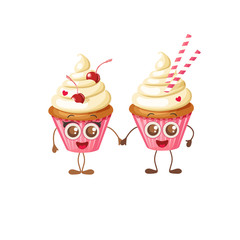 Happy Valentine's Day. Two sweet pink cupcakes with eyes isolated on white. Cartoon Food Character Emoji. Couple hold hands. Objects for holidays, menu, backgrounds
