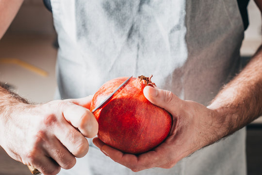 Chef prepares pomegranate according to his recipe - healthy food - a secret ingredient
