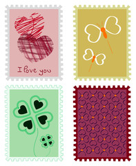 Set of differents stamped vector nature love