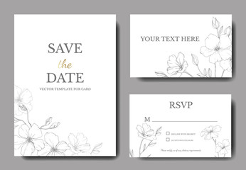 Vector. Flax flower. Engraved ink art. Wedding white background card floral border. Thank you, rsvp, invitation card.