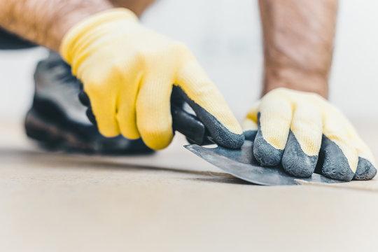 How to heat welding vinyl floor with heat gun - Quarter moon spatula trimming knife for vinyl floor welding - heat weld vinyl installation