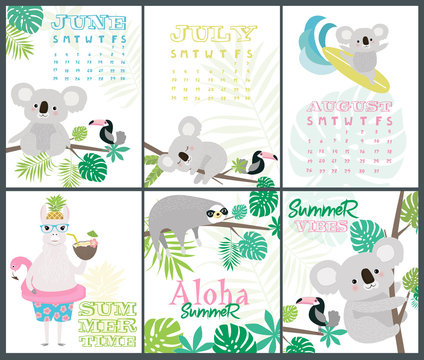 Set of fun Aloha posters and summer month calendar with cartoon animals for baby shower or birthday party. Editable vector illustration