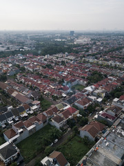 Aerial view of dense housing complex at Gading Serpong, Tangerang, Indonesia.