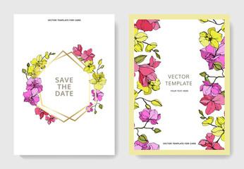 Vector Orchid. Engraved ink art. Wedding background floral border. Thank you, rsvp, invitation card illustration.
