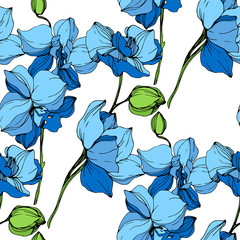 Vector. Orchid flower. Blue engraved ink art. Seamless background pattern. Fabric wallpaper print texture.