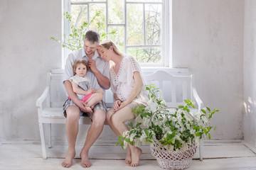 happy family on vintage white interior