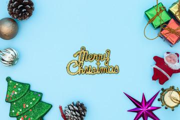 Christmas decoration on blue background