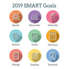 2019 SMART Goals Vector graphic with Smart goal keywords