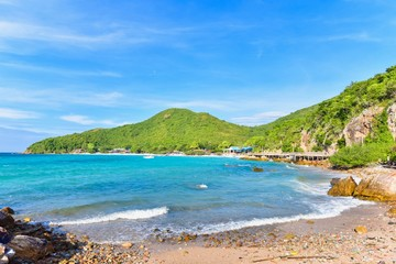 View of Tien Beach on Tropical Island of Koh Larn in Pattaya