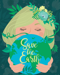Earth Day poster with planet and girl. World environment day background. Save the earth. Green day. Editable vector illustration