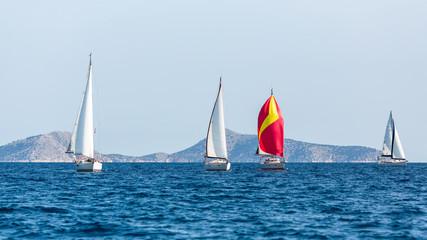 Sailing luxury yacht boat in Aegean Sea, Greece.