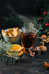 Fotobehang Thee mulled wine on christmas decorated background