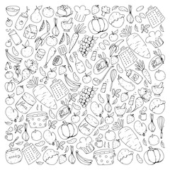 Kitchen and cooking seamless pattern. Icons of food and drinks. Colorful images for wrapping paper, textile, fabric