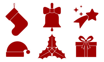 Set Christmas icon. Christmas bell, stocking, gift, star, Santa Claus cap and mistletoe. Red flat icon isolated on white background. Vector illustration