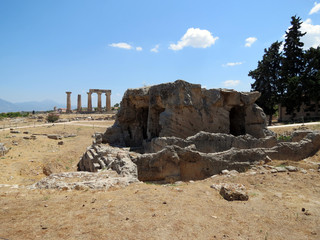 Europe, Greece, Corinth, the ruins of an ancient structure built of huge boulders