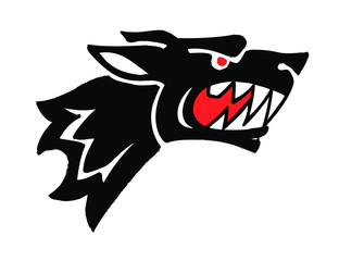 black wolf with big teeth and red eyes mascot tattoo logo