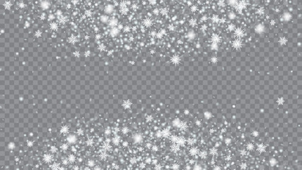 Flying snow background. Card or banner with flakes confetti scatter frame, snow elements. Holiday Christmas card design. Transparent base.