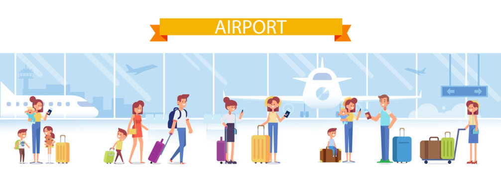 Cartoon people with luggage in airport waiting for flight. Flat vector illustration.