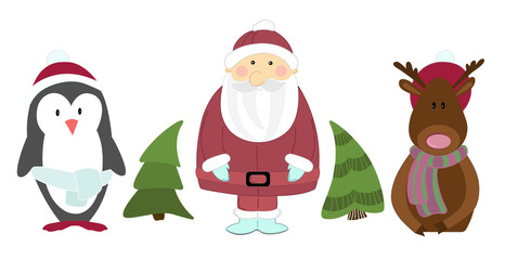 Christmas illustration of Santa Claus with Christmas trees and reindeer and penguin on a white background.