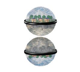 Weltkugel mit zwei Seiten. Eine Umweltfreundliche und eine mit Umweltverschmutzung auf weiß isoliert.