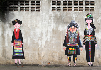 Printed kitchen splashbacks Athens Painting of hilltribe people on concrete wall.